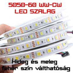 Hideg és Meleg színhőmérsékletváltó fehér LED szalag 5050-60LED/m