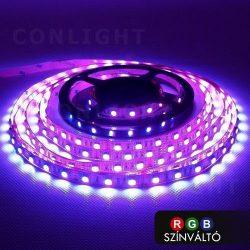 RGB LED szalag, Színváltós beltéri IP20 60LED/m SMD 5050 Erős!