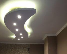 Hullám-2 XPS álmennyezet (210x70 cm)szett szabályozható fényerejű spottal LED szalaggal (H-210x70-FS)