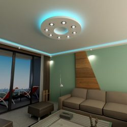 Kör 100cm süllyesztett álmennyezet RGB  Led világítással, szabályozható fényerejű spottal (K-100-RGBS)