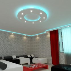 Kör150cm süllyesztett álmennyezet RGB Led világítással,szabályozható fényerejű spottal (K-150-RGBS)