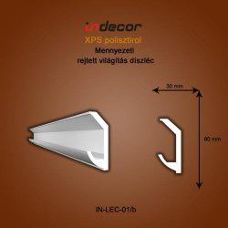Mennyezeti profil - rejtett világításnak (60x30mm) Léc-01/b