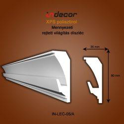 Mennyezeti profil - rejtett világításnak ( 80x35mm) Léc-05/a
