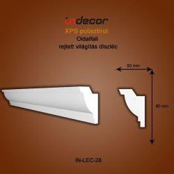 Profil oldalfalra- rejtett világítás díszléc (80x50mm)  Léc-28