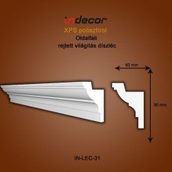 Profil oldalfalra- rejtett világítás díszléc (90x60)  Léc-31