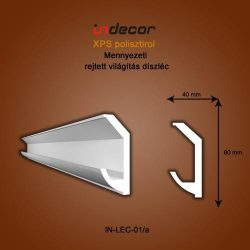 Mennyezeti profil - rejtett világításnak (80x40mm) Léc-01/a