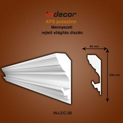 Mennyezeti profil - rejtett világításnak (230x85mm)LÉC-26
