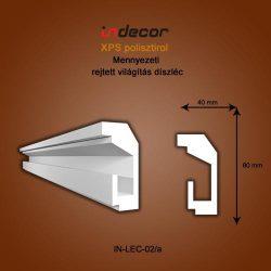 Mennyezeti profil - rejtett világításnak (80x40mm) Léc-02/a
