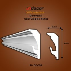 Mennyezeti profil - rejtett világításnak (80x35mm) Léc-06/a