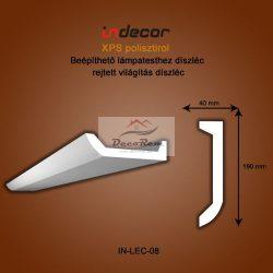 Profil Oldalfalra - LED spot és rejtett világításnak (190x40mm) Léc-08