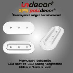 Mennyezeti XPS dobozolás spot világítással, LED szalaggal, kerekített( 43x100cm)(MD-1-43-O-F)