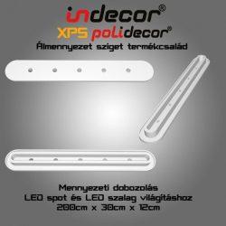 Mennyezeti XPS dobozolás spot világítással, LED szalaggal, kerekített(43x200cm)(MD-2-43-O-F)