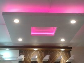 Négyzet 100cm süllyeszetett álmennyezet RGB Led világítással ,szabályozható fényerejű spottal (N-100-RGBS)