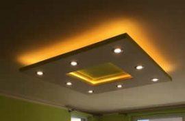 Négyzet Süllyesztett XPS álmennyezet szett (120x120 cm)RGB LED világítással, szabályozható spottal (N-120-RGBS)