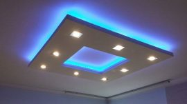 Négyzet (150x150cm) Süllyesztett szett, RGB !LED világítással ,szabályozható fényerejű spottal (N-150-RGBS)