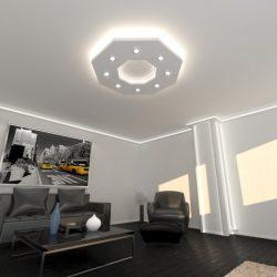 Nyolcszög süllyesztett álmennyezet szett(120x120cm )  fehér LED világítással (NY-120-F)