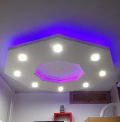 Nyolcszög süllyesztett álmennyezet szett (120x120cm )  RGB LED világítással (NY-120-RGB)
