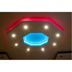 Nyolcszög 150cm süllyesztett álmennyezet RGB Led világítással,szabályozható fényerejű spottal(NY-150-RGBS)