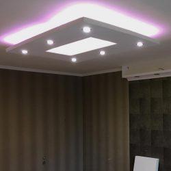 Téglalap XPS süllyesztett szett(150x100cm) RGB LED világítással ,szabályozható spottal (T-150x100-RGBS)