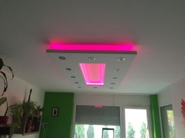Téglalap (200x100cm) Süllyesztett RGB LED szalaggal ,szabályozható fényerejű spottal (T-200x100-RGBS)