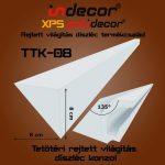 Rejtett világítás díszléchez  konzol 135 fokos tetőtéri csatlakozás (8 cm magas díszlécekhez)2 méter